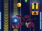 Fahre im Spiel Armed Road ein schwer gepanzertes Auto, das mit Waffen ausger&uu