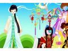 Sie können zwölf orientalische Zeichen mithilfe der Frisuren und Kleider bere