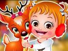 Hurra! Der Weihnachtsmann hat Baby Hazel sein Rentier für ein paar Tage ge