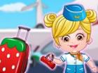 Baby Hazel als Stewardess ist bereit, um die ganze Welt zu fliegen. Unsere klei