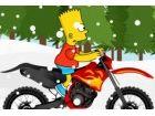 Bart Simpsons ist zurück und er nimmt sein Fahrrad für eine Fahrt im Schnee k