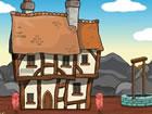 Ein bärtiger Mann ist in dem alten mittelalterlichen Haus eingesperrt. Können