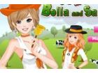 Die Schwestern Bella und Sarah wie Leben auf dem Bauernhof und sie gehen oft zu