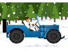 Fahren auf Schnee Hügel mit Ben 10 in einem Jeep. Seien Sie sehr vorsichtig, u