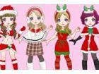 Dress up das niedliche Mädchen für Weihnachtsfeier und versuchen, die höchst