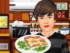 Helfen Justin eine einfache und hausgemachte Pizza kochen!
