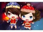 Das niedliche Baby muss Chinesisches Neujahr feiern mit Eltern. Warum helfen ni
