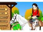 Sie ist auf einer Farm und braucht die passenden Kleider zu fahren das Pferd zu