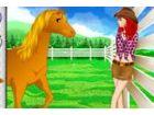 Machen Sie das Teenie Mädchen, das Pferd zu Reiten