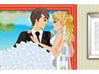 Ein romantisches paar Jungvermählten, welche e...