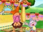 Dora ist in einer fröhlichen Stimmung mit ihrem Freund Stiefel, damit sie füh