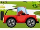 fahren über die Hügel mit Esel Kong in einem Auto Seien Sie sehr vorsichtig,