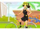 Diese Biker ist ein modisch! Sie fährt ihr Fahrrad nie, bevor sie einen stilvo