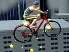 Der verrückte Biker wartet auf deine Hilfe, um seine Show auf dem Dach for