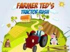 Helfen Bauern Ted tragen seine Ernte mit seinem Traktor, ohne etwas zu verliere