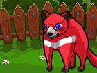 Roter Tasmanischer Teufel, der von Jägern in einem Käfig gefangen wur
