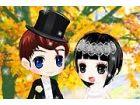 Ein nettes Paar hat Herbst Saison ihrer Hochzeit entschieden. Sie finden die Sa