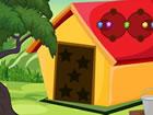 Es gibt ein paar Häuser in einem Wald. ...