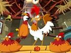 Hen Coops Spiel - halten Sie ein Auge auf das Ei unter die Henne als der Hahn s