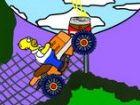 Spielen Sie als Homer und Laufwerk ein ATV vier Wheeler über Hügel. Auf die A