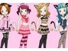 Sie haben verschiedene nette Katze Kostüme und ein hübsches Mädchen, das sie