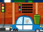Ein kleines Auto ist in einer Straße g...