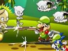 Super Mario und Sonic The Hedgehog schießen gemeinsam Zombies mit Waffen.