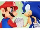 Es ist ein Rennen zwischen Mario und Zelda in einer traumhaften Landschaft.