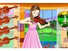 Sie spielt Geige, ihr helfen, für putzt sich