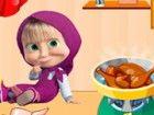 Heute Mascha wird ihr erstes Koch nehmen lesson.She ein leckeres Hühnchen