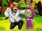 Mascha und der Bär auf dem Stand Karneval im Wald eingeladen. Mascha brauc