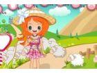 Dieses niedliche kleine Mädchen kommt Opa \'s Farm mit den Schafen zu spielen.