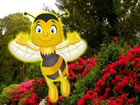 In diesem Fluchtspiel hat eine weibliche Honigbiene ihre männliche Honigbi
