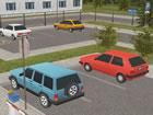 3D-Parkspiel. Fahren Sie einen SUV und parken Sie ihn auf einem gekennzeichnete