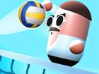 Spielen Sie ein bisschen Volleyball mit Charakteren mit niedlichen kleinen Char