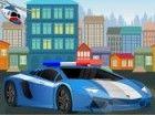 Fahren Sie ein Polizeiauto und versuchen, es vor der Polizeistation schnell und
