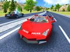 Fahre in Polizeiauto Stuntfahrerr ein Polizeiauto auf wütenden und aufrege