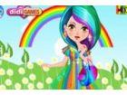 Dieses süße aussehende Regenbogen-Mädchen ist verrückt nach girly schicke b