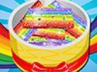 Machen Sie eine köstliche Regenbogen-Kuchen mit verschiedenen Farben-. Dieser