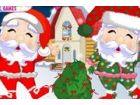 Weihnachtsmanns auf der Suche nach dem schönsten schickes Outfit für seine We