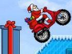 Als Weihnachtsmann fahren Sie Ihr Motorrad, wie Sie von der Welt pixelig umkipp