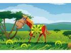 Kleines Pony will schnell wachsen und ein galanter Pferd geworden. Er stellt si