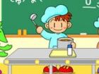 Ein Mitarbeiter setzt in der Cafeteria an einem Gymnasium köstliche Suppe in e