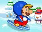 Mario ist auf einem Schnee Skaten Aktivität auf dem Berg. Er hat Spaß Skaten