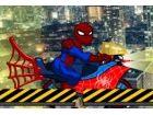 Spiderman braucht deine Hilfe, wie er Rennen quer durch die Stadt auf seinem ne