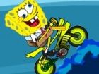 Spongebob hat Spaß auf seinem waterbike! Er durchläuft das Meer und tun Trick