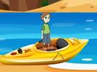 Dieser Junge ist in einem Strandpark gefange...