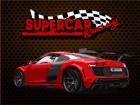 Ein Supersportwagen, große Titel in der Mitte der Wüste und den besten Rallye
