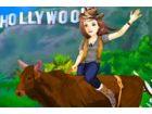 Die Bauernmädchen Tara größte Traum war, das Hollywood sign und lustige Foto