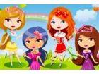 Die fünf süße Prinzessinnen diesem sonnigen Tag draußen verbringen wollen b